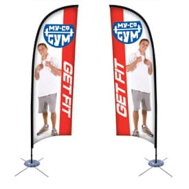 9' Premium Razor Sail Single-Sided Sign Kit with Scissor Base