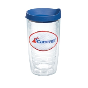 Clear plastic tumbler with blue lid and an embroidered red, white and blue logo
