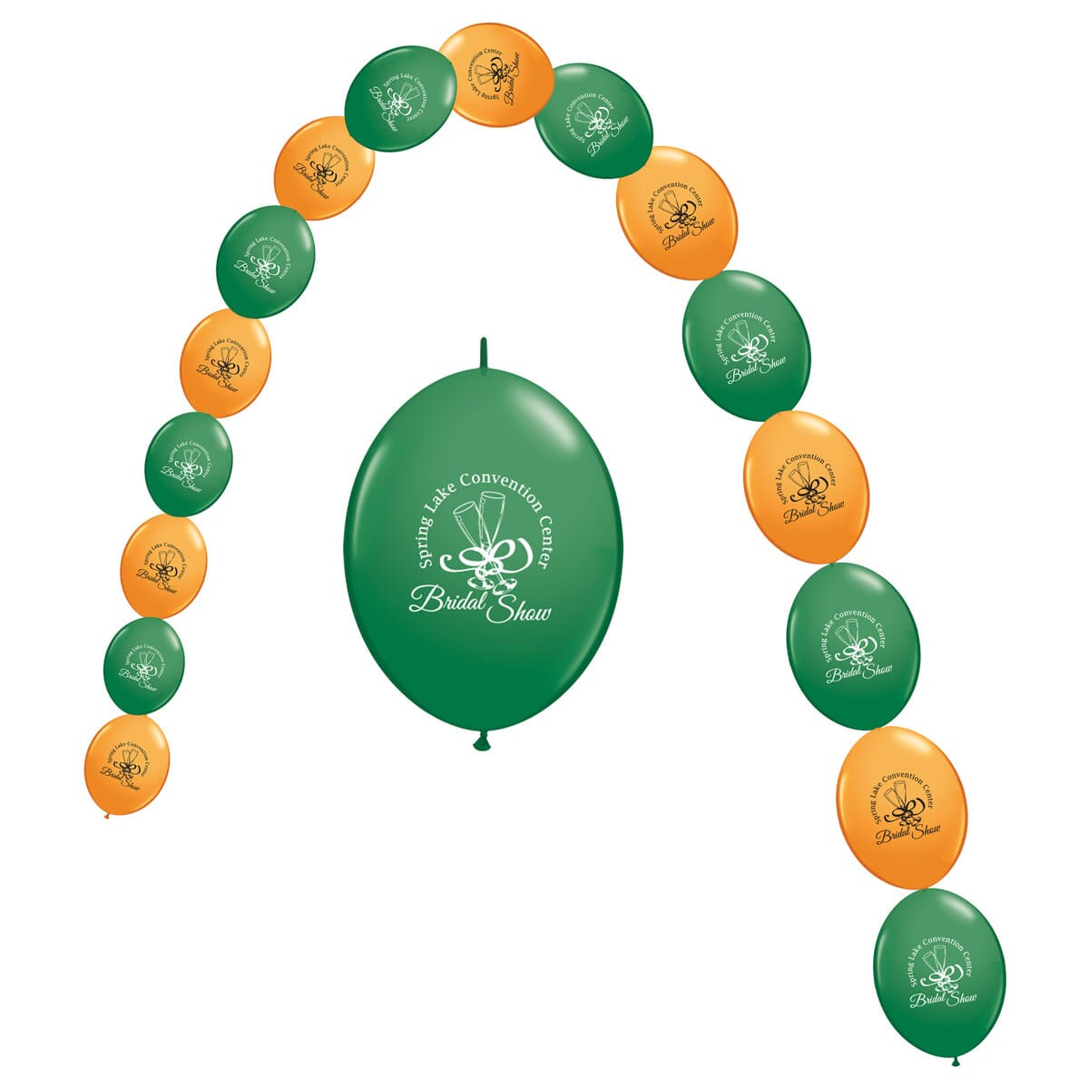 Green and orange balloons decorated with black and white logos, linked together to form a balloon arch