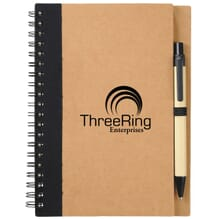 Black and natural eco-friendly notebook with pen
