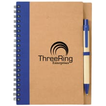 Brown cardboard spiral-bound notebook with blue trim and black logo