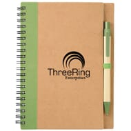 Green and natural recycled notebook and pen set