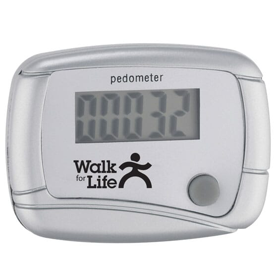 Silver pedometer with logo