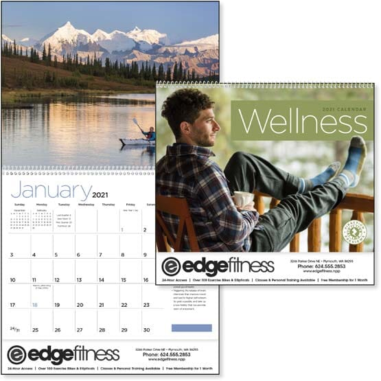 wall calendar with wellness tips