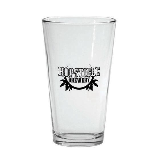 Pint glass with brewery logo
