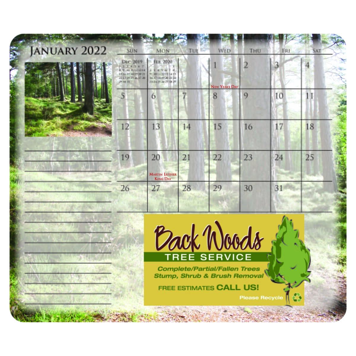 mousepad paper calendar