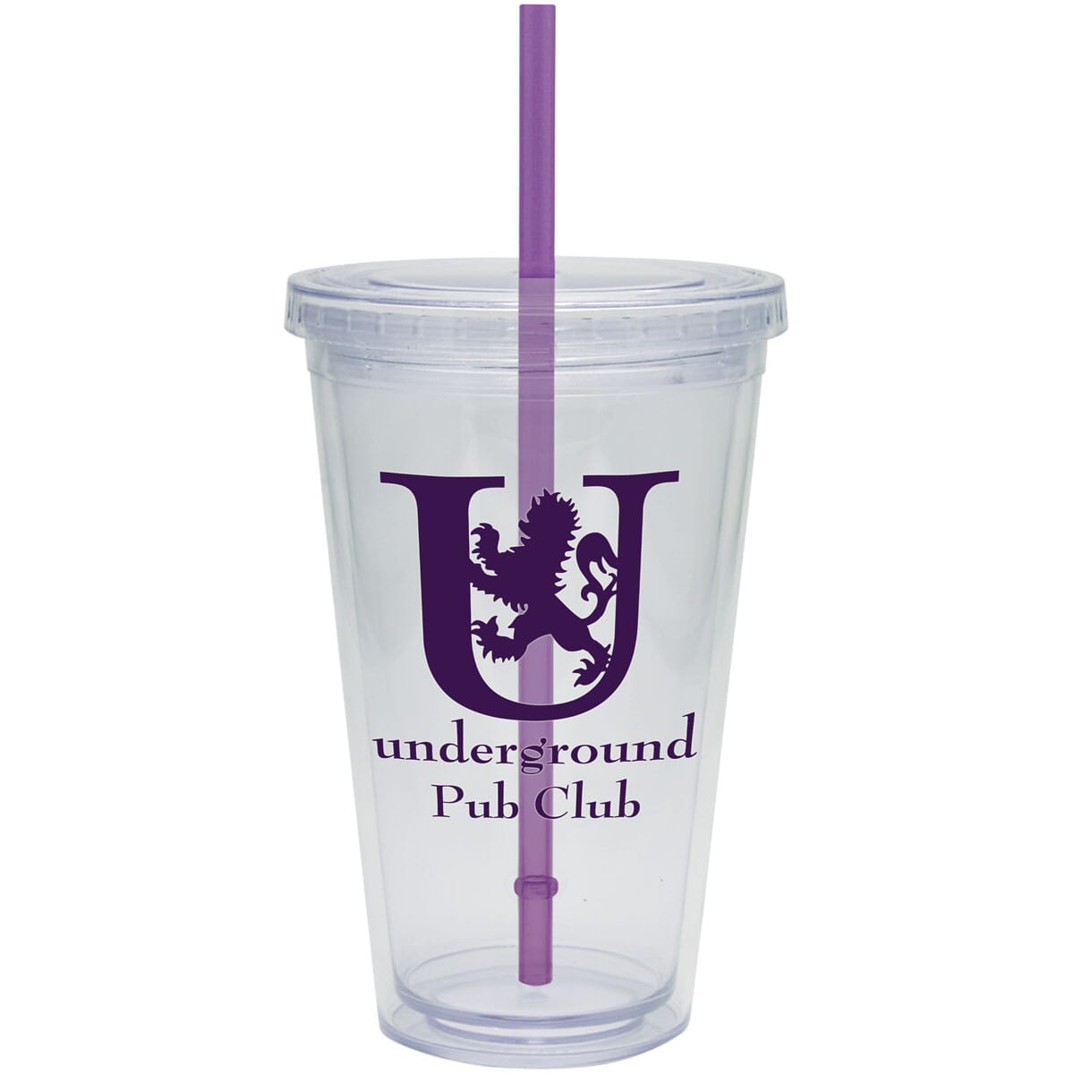 clear travel cup with straw