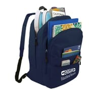 Navy school bag with multiple compartments