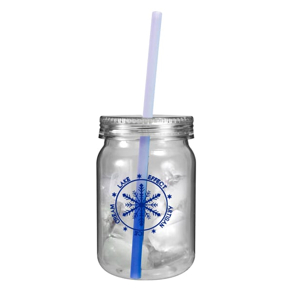 24 oz Mason Jar with Chameleon Straw - One Color
