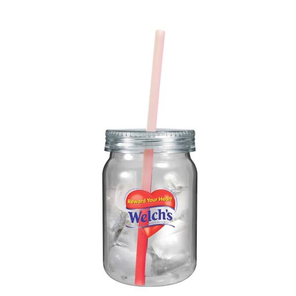 24 oz Mason Jar with Chameleon Straw - Full Color