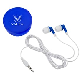 Headphones In Round Case