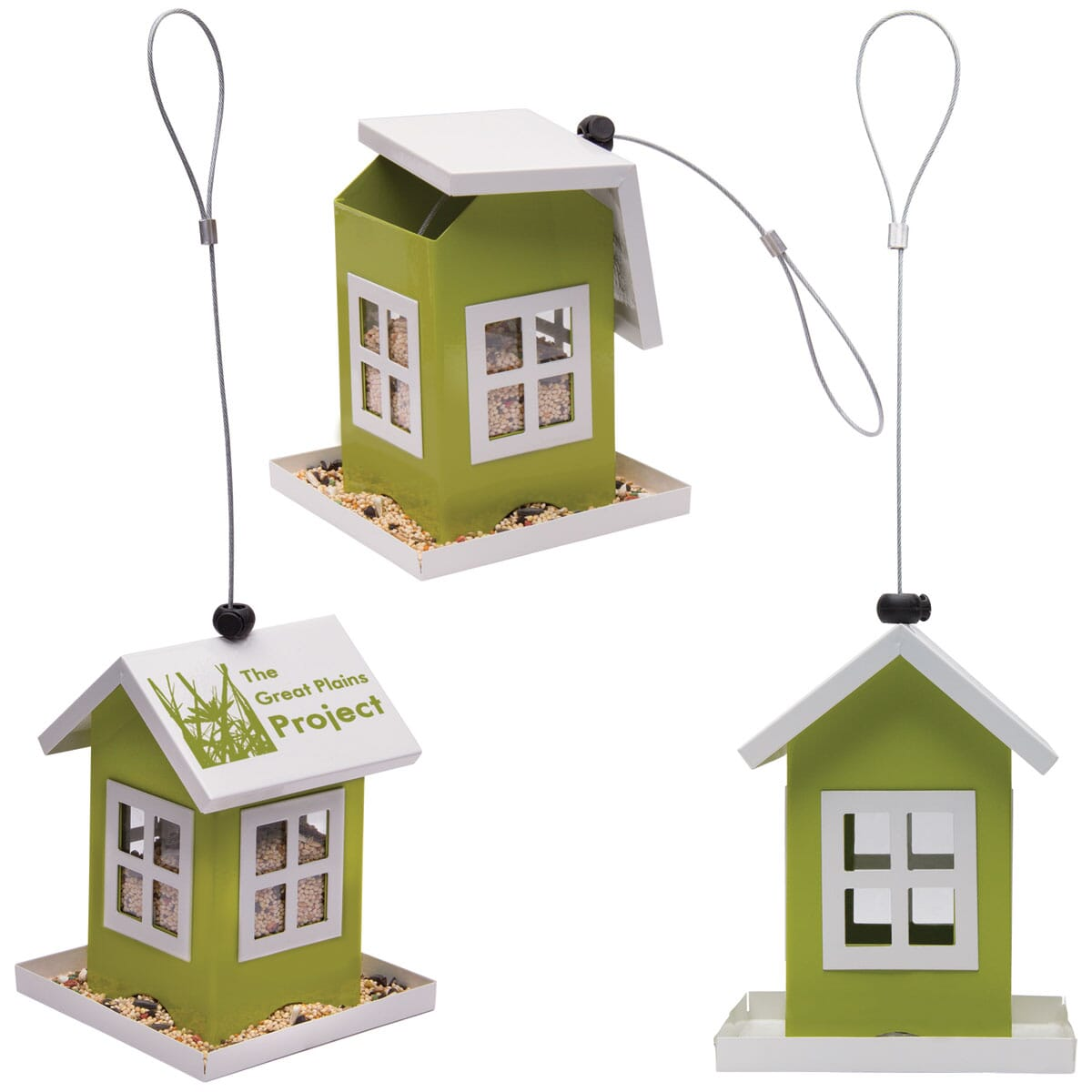 Bird feeder with logo on roof