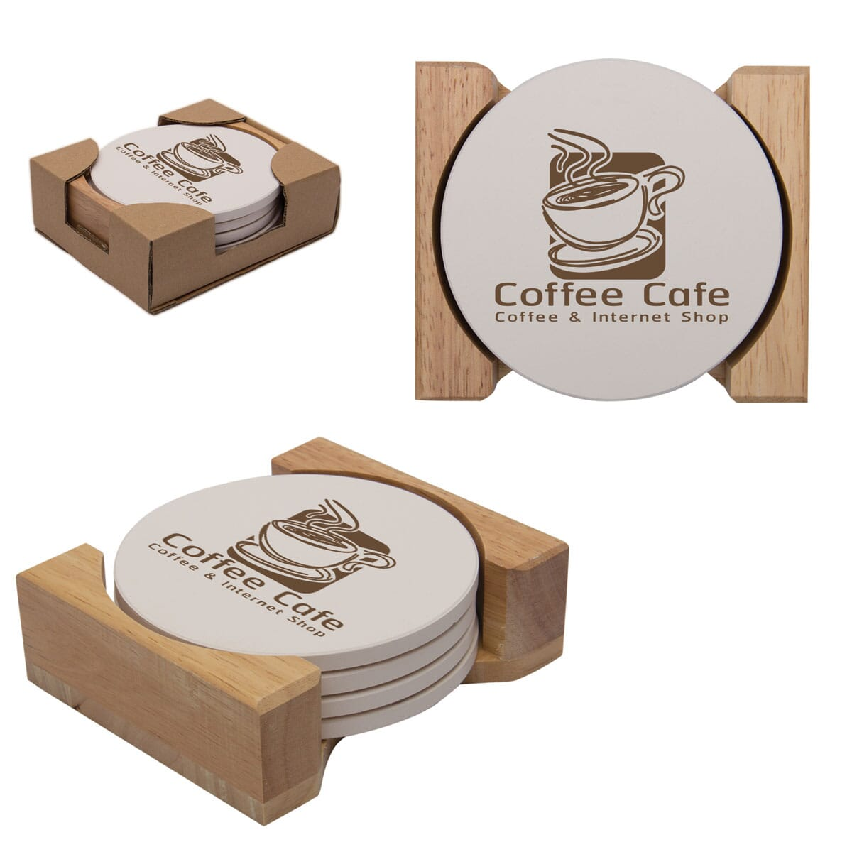 Absorbent stone coaster set