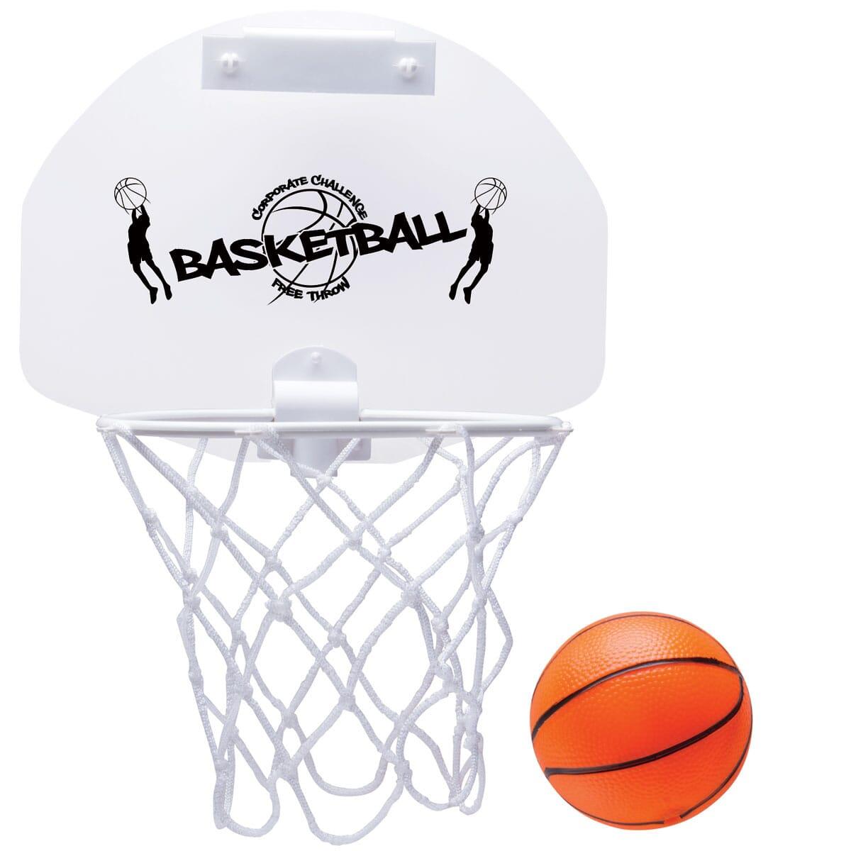 White basketball hoop with black logo alongside small orange basketball