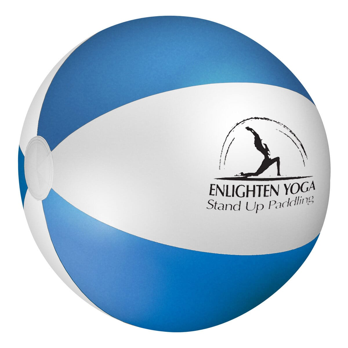 Blue and white striped inflatable beach ball with black logo