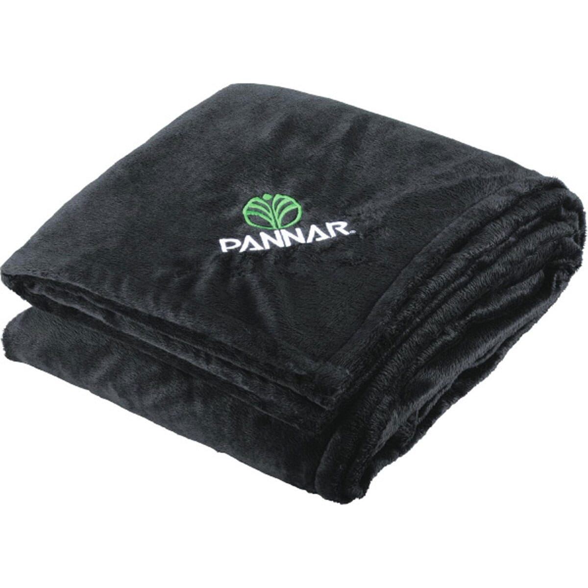 Sherpa throw blanket with embroidered logo