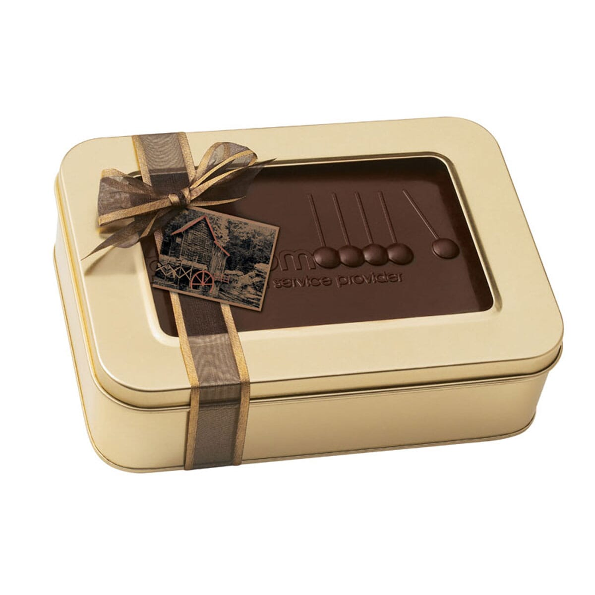 Gift tin with customized chocolate