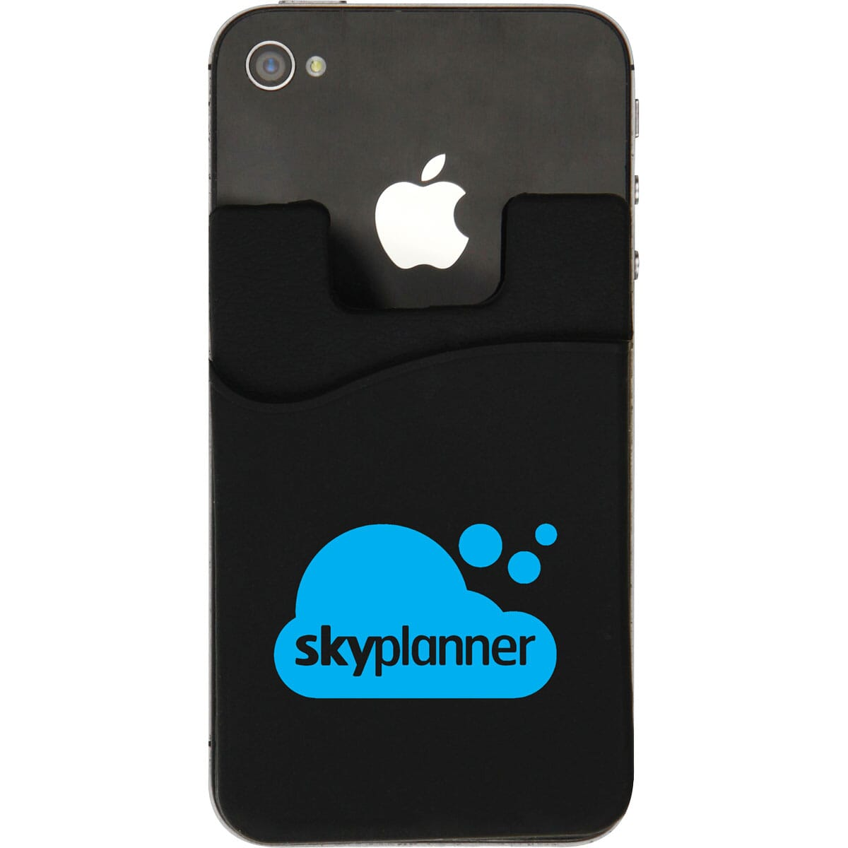 Black silicone phone wallet with blue logo attached to a black iPhone.