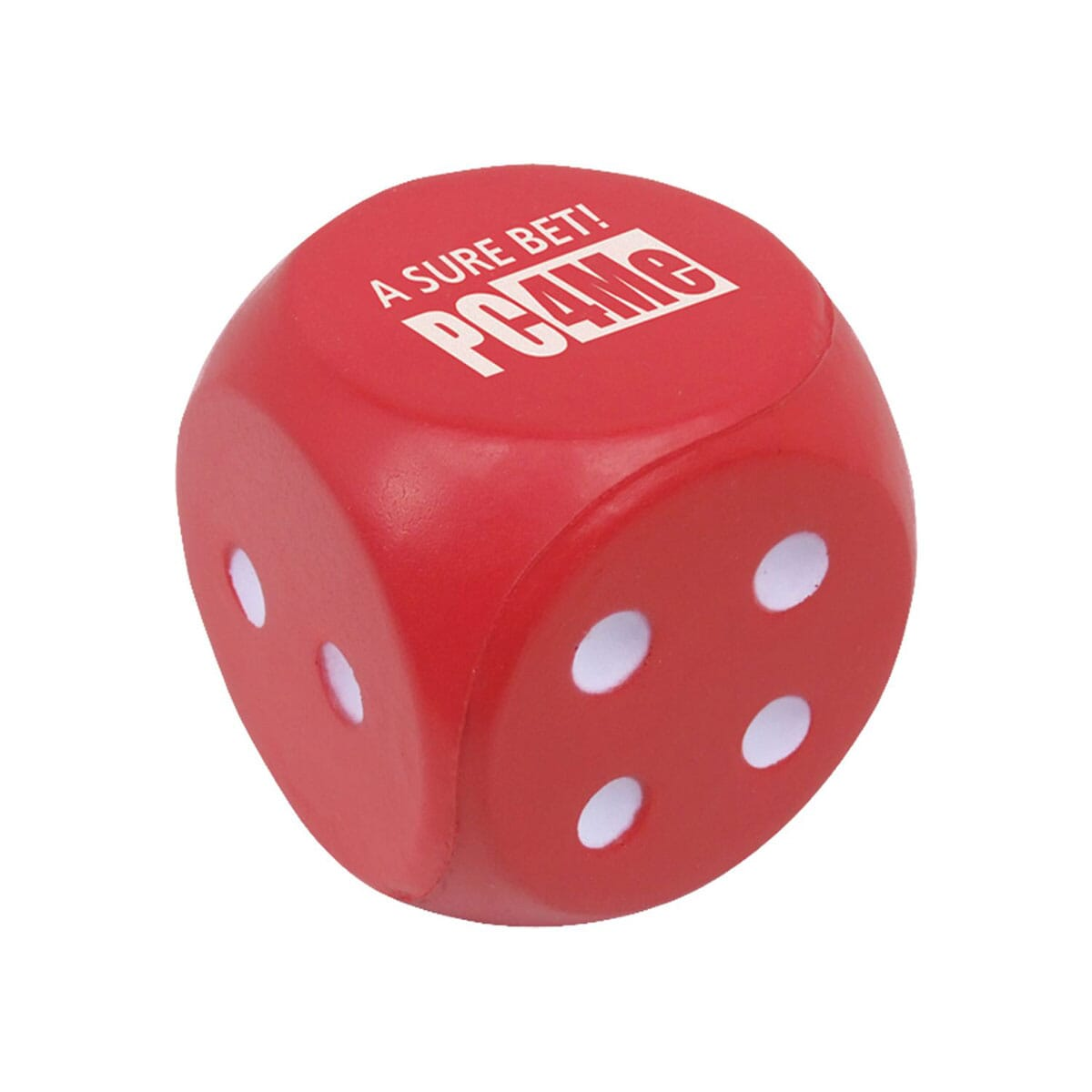 Red stress reliever with white logo shaped like a board game die