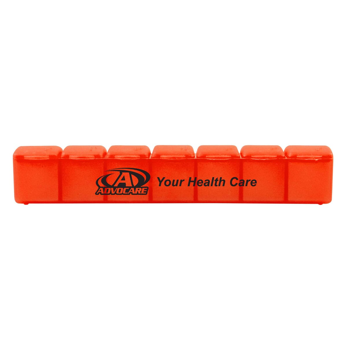 Orange 7 day medicine reminder pill case