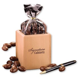 Hardwood Pen And Pencil Cup With Milk Chocolate Almonds