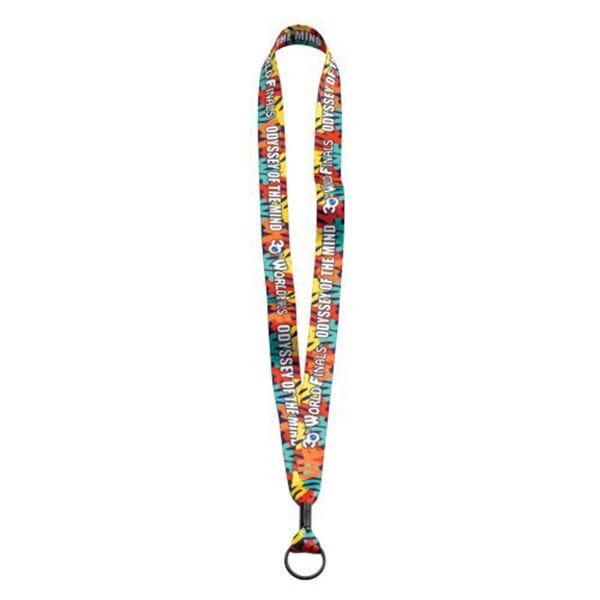 "3/4"" Full Color Polyester Lanyard W/Metal Crimp And Metal Split-Ring"