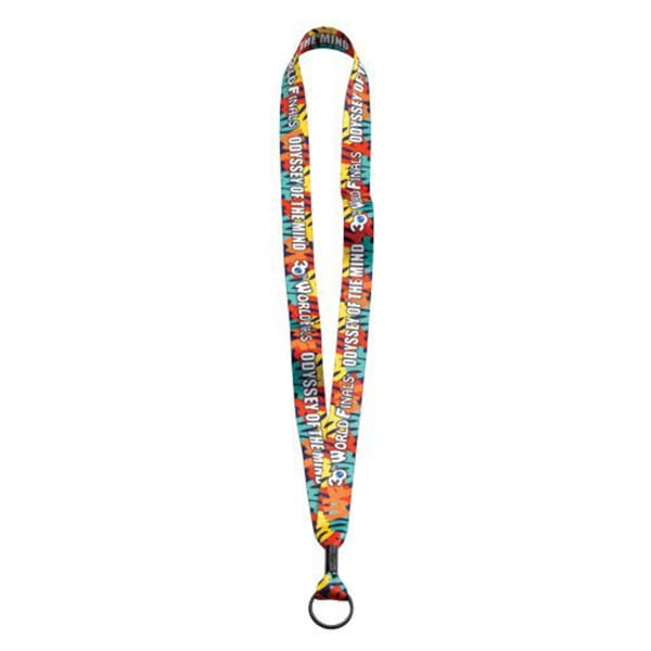 "3/4"" Full Color Polyester Lanyard W/Metal Crimp And Metal Split-Ring"