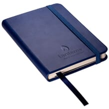 Dark blue faux leather journal with debossed logo and ribbon bookmark