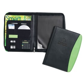 Black and green faux leather padfolio with debossed logo