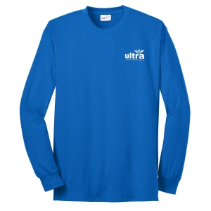 Blue long sleeve t-shirt with white logo