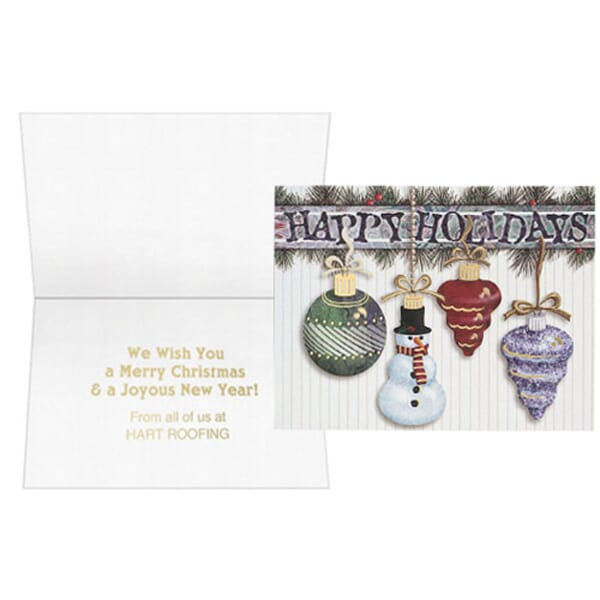 Hanging Ornaments With Snowman Greeting Card