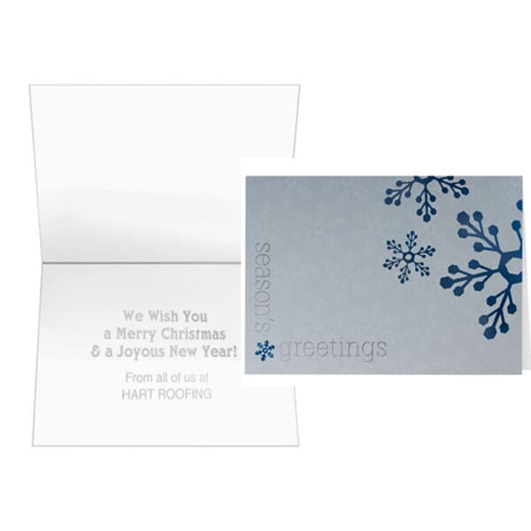 Blue Snowflakes On Silver Greeting Card