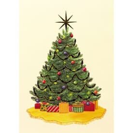 Gold Star Tree Greeting Card