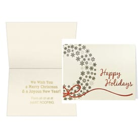 Gold Snowflakes Wreath Greeting Card