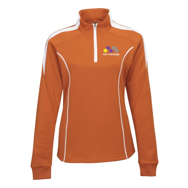 Ladies Polyester Mesh Knit 1/4 Zip Pullover