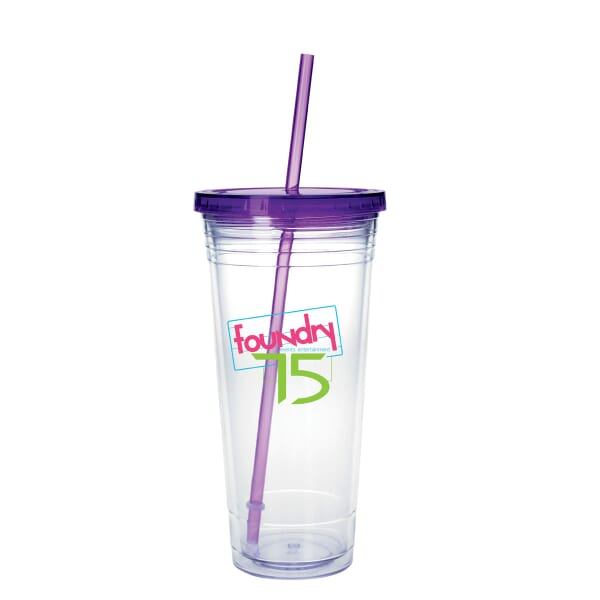 24 oz Large Colored Lid Tumbler