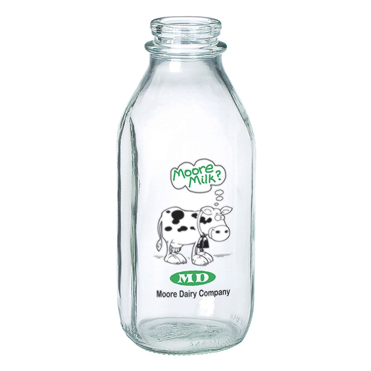 recyclable glass vintage style milk bottle