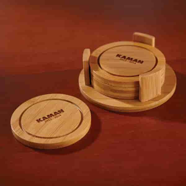 Circular Bamboo Coaster Set