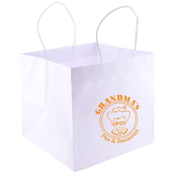 Wide Gusset Take Out Bag - White Kraft