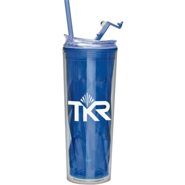 22 oz Diamond Cut Straw Tumbler