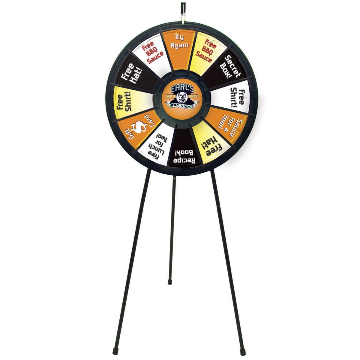 Prize wheel mounted on tripod stand with black and white logo in center