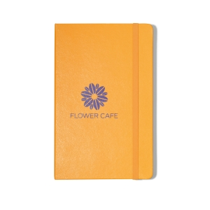 Yellow Moleskine notebook with purple logo