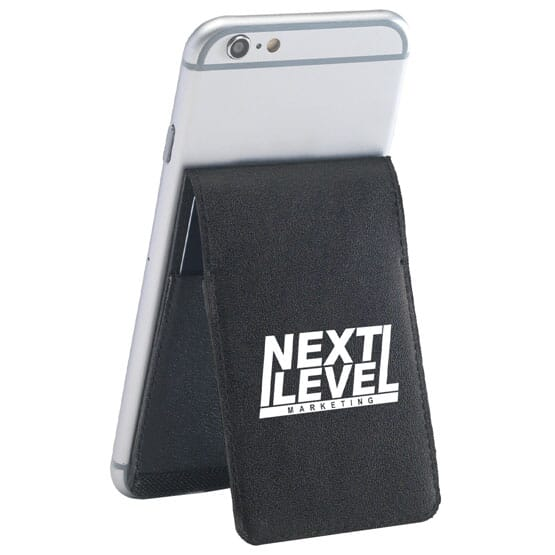 Black phone wallet with white logo acting as a stand for a iPhone.