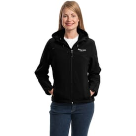 Port Authority® Textured Hooded Soft Shell Jacket- Ladies'