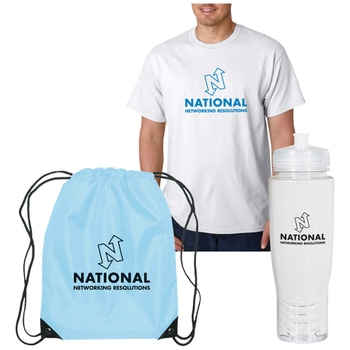 Set of blue, white and black color-coordinated t-shirt, water bottle and drawstring backpack