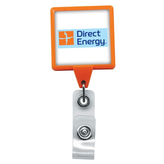 Dome Style Vivid Colors Square Badge Reel