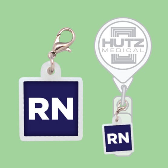 Squared Off Badge Reel Charm