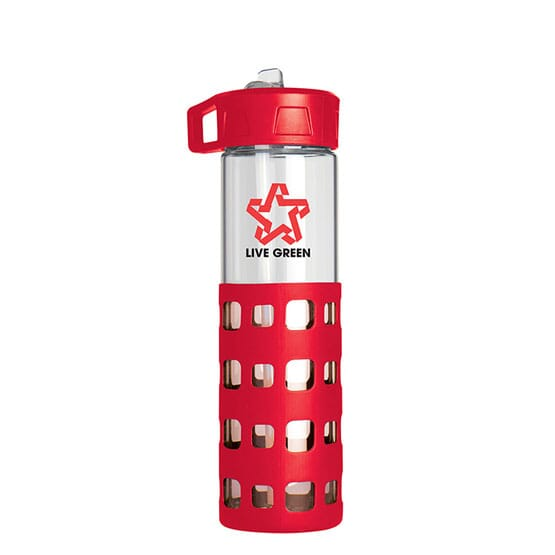 Glass water bottle with silicone grip