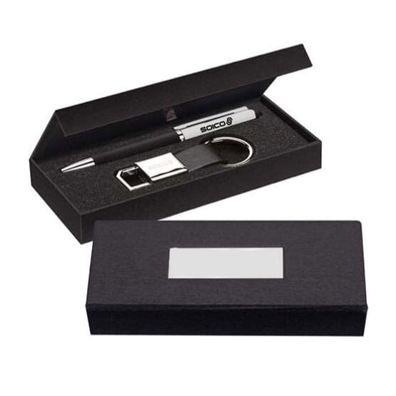 pen and keyring gift set with box