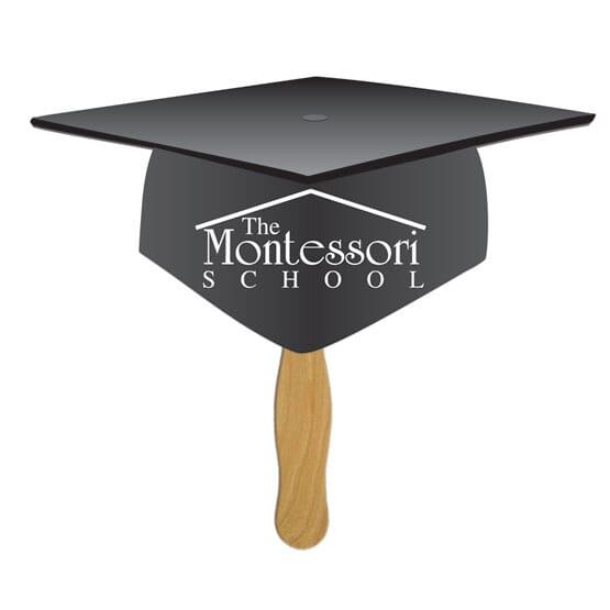 Black graduation cap hand fan